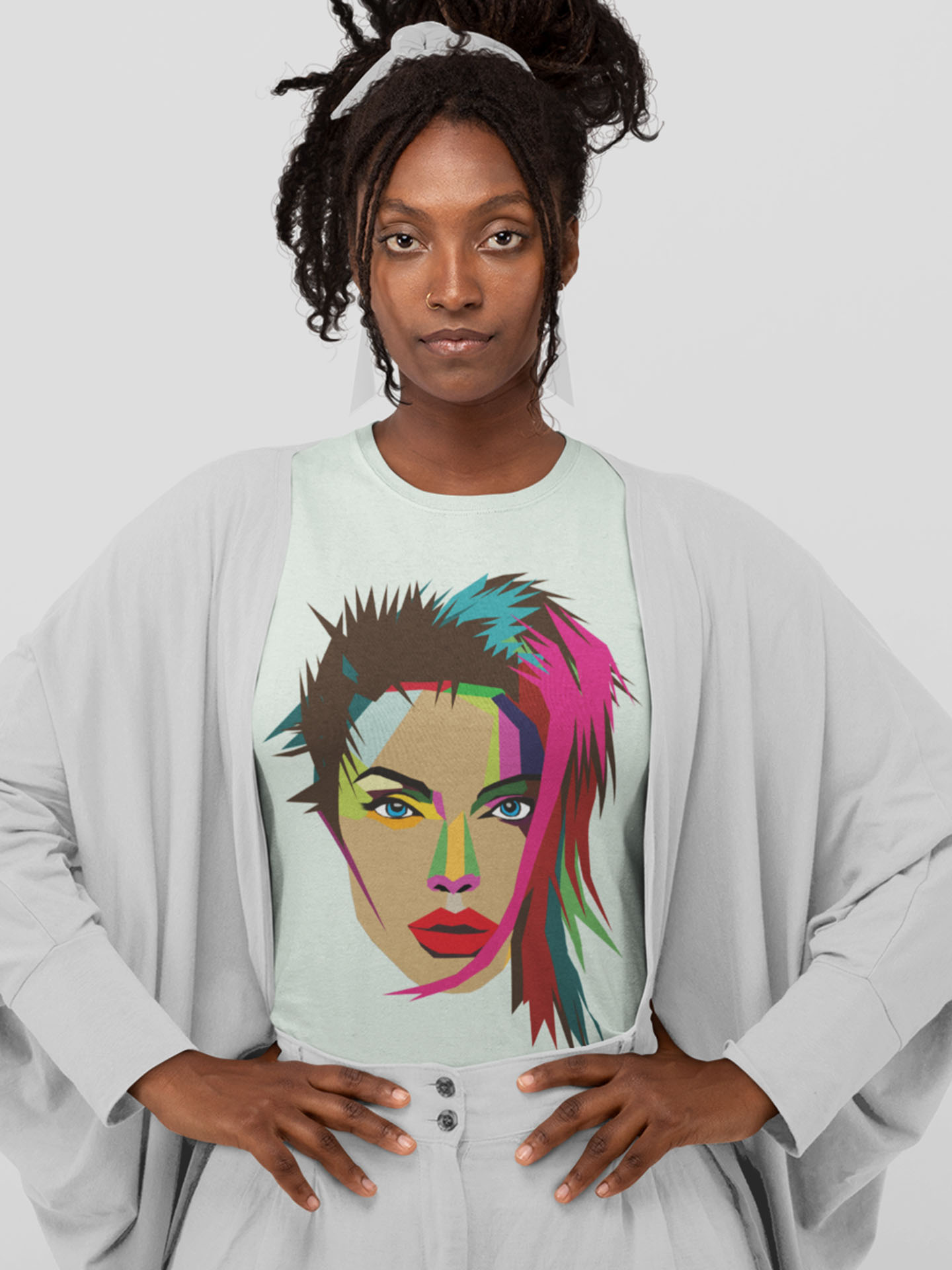 Spredshirt-Prints-Trailfire_0009_monochromatic-mockup-featuring-a-woman-wearing-a-customizable-t-shirt-at-a-studio-32797