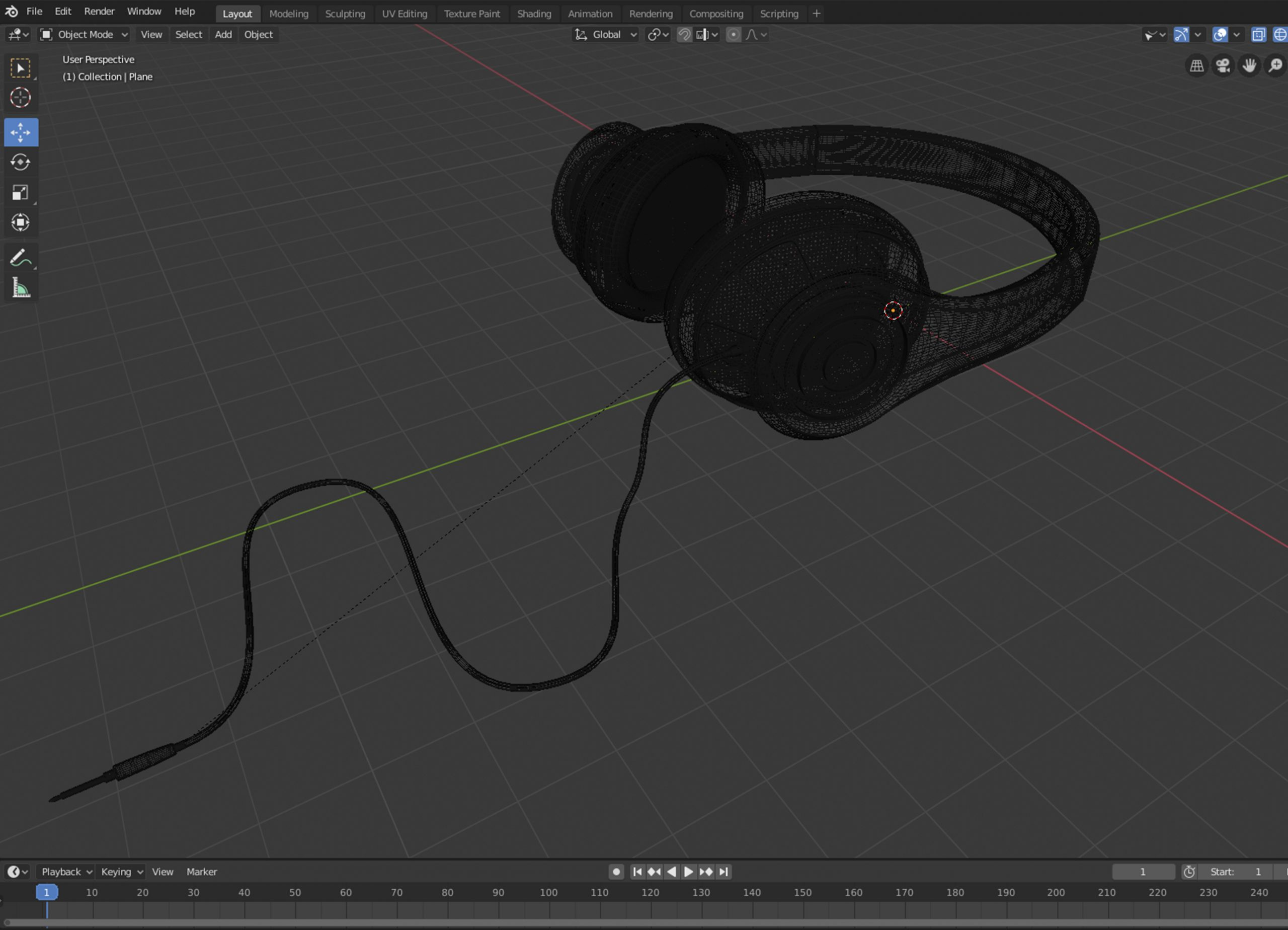 Blender-Red-Headphones-wireframe